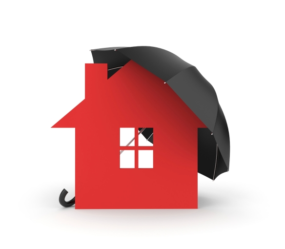 Umbrella and house symbol